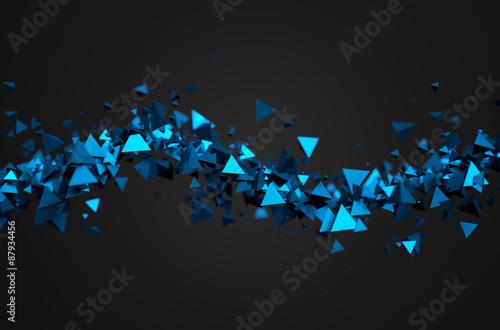 abstrakcyjne-tlo-trojwymiarowe-latajace-niebieskie-piramidy
