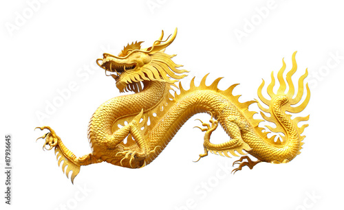 Fotografie, Tablou  Golden dragon statue on white background.