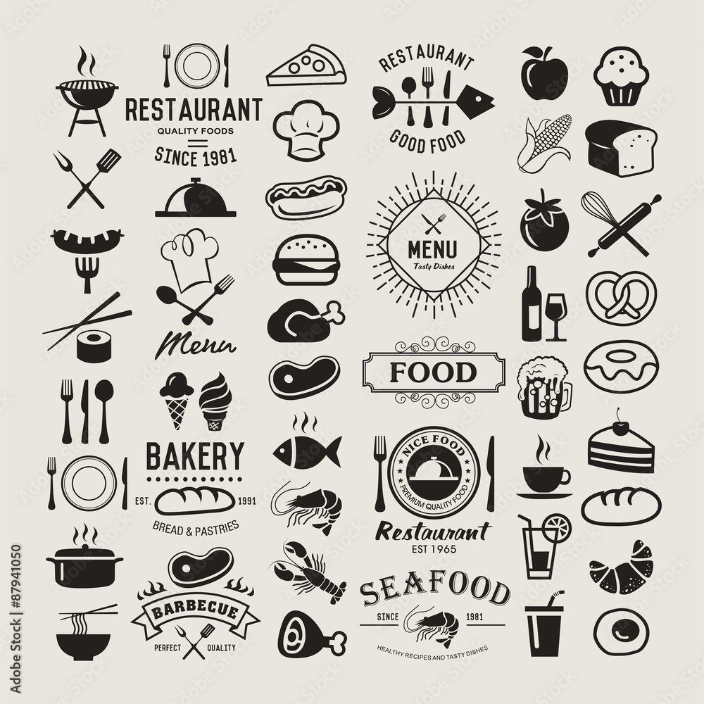 44b86c7ff5d Fotografie, Obraz Potravinové vintage design prvky, loga, odznaky, etikety,  ikony a objekty | Posters.cz