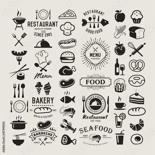 Fotografia, Obraz  Food vintage design elements, logos, badges, labels, icons and objects