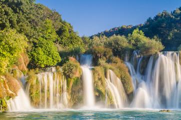 Panel Szklany Podświetlane Panorama Krka river waterfalls, Dalmatia, Croatia