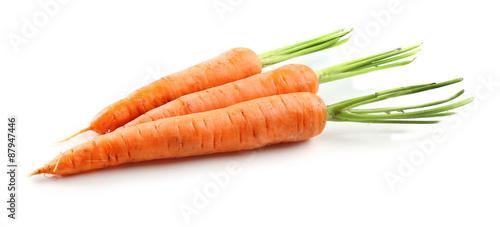 Foto op Aluminium Vruchten Fresh carrots isolated on white