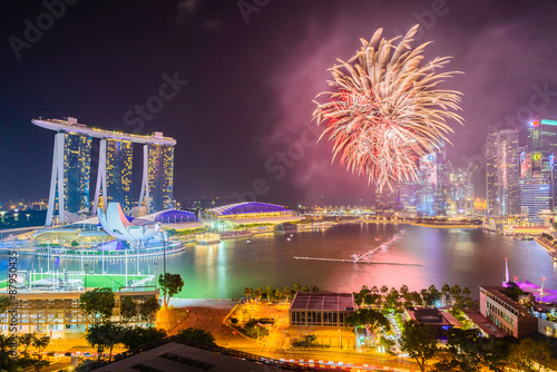 Photo Firework at singapore city