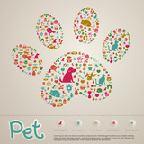 Pet shop infographic icon brochure banner badge background template layout vector
