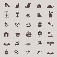 Silhouette Animal And Pet Shop Tool Icon Design Set For Shopping Create By Vector