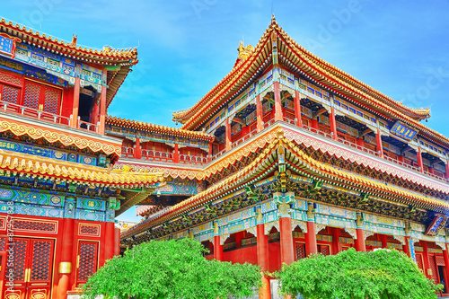 Photo Beautiful View of Yonghegong Lama Temple.Beijing. Lama Temple is