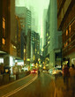painting of street in modern urban city at evening