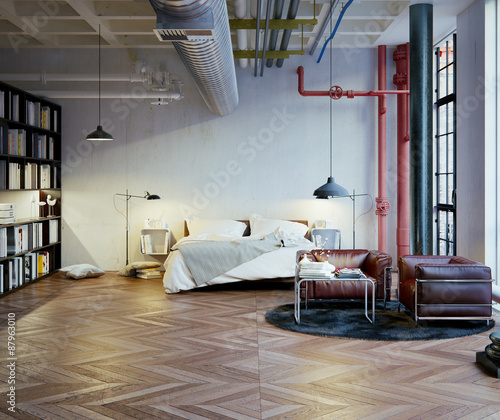 schlafzimmer in industrie loft bedroom in old industrial loft kaufen sie diese illustration. Black Bedroom Furniture Sets. Home Design Ideas