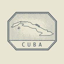 Stamp With The Name And Map Of Cuba