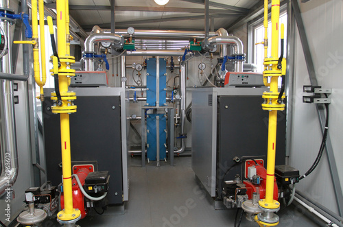 Two boilers in a modern boiler-house - Buy this stock photo and ...