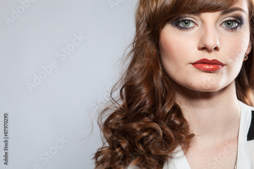 Fototapety, obrazy: Portrait of young beautiful girl with bright makeup