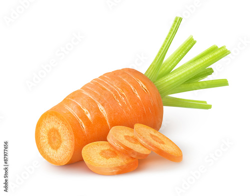 Fotografía Cut carrot over white background with clipping path