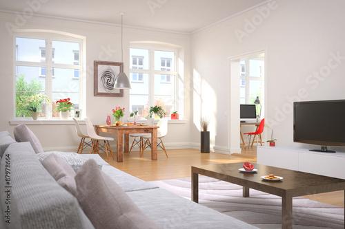 Fotografia  Wohnzimmer und Esszimmer mit einem gedeckten Frühstückstisch