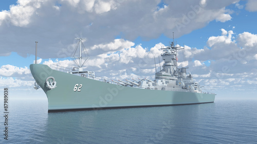 Photo American battleship of World War II