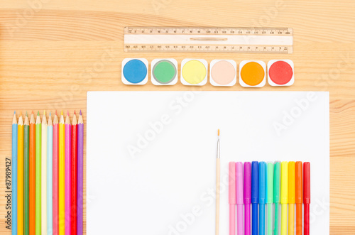 Fotografering  group  color school supplies