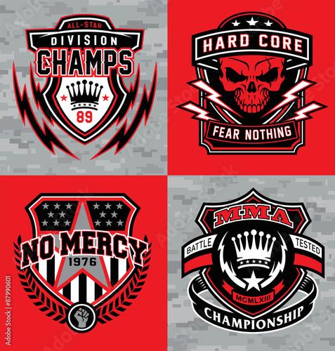 Fotografie, Obraz  Sports shield emblem graphic set