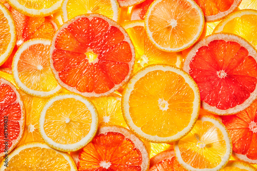 Poster Fruits Colorful citrus fruit slices