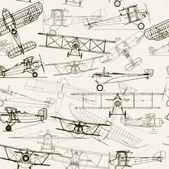 FototapetaVintage seamless background. Stylized airplane illustration