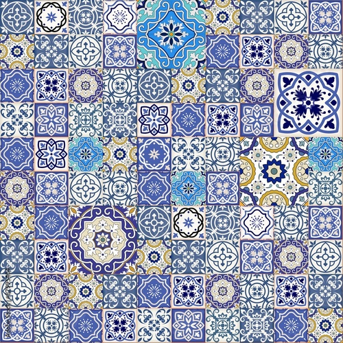 Fotografía  Mega  seamless patchwork pattern from colorful Moroccan tiles
