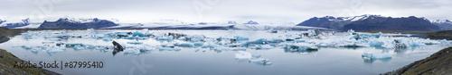 Recess Fitting Glaciers Panorama of Jokulsarlon, Glacial outflow lake in southern Icelan