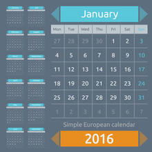 Simple European 2016 Year Vect...