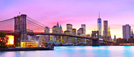 View of New York City at dusk.