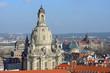 View towards Frauenkirche from Kreuzkirche bell tower, Dresden,