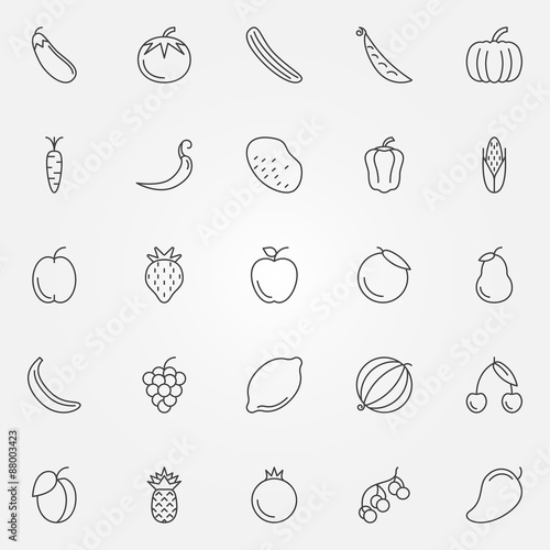 Poster Cuisine Fruits and vegetables icons