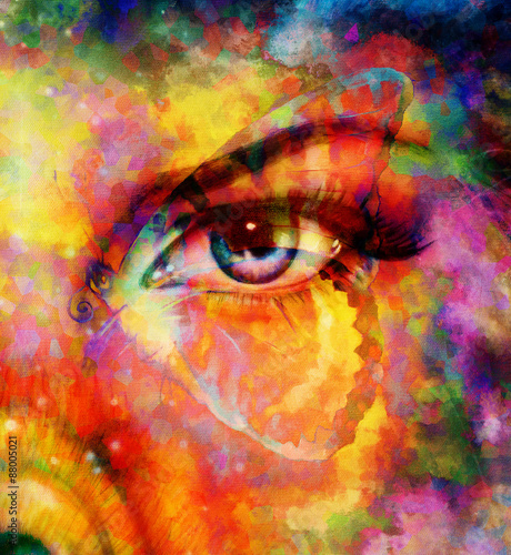 Fototapety, obrazy: color butterflies and woman eye, mixed medium, abstract color background.