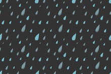 Rain Seamless Pattern, Dark Cold Autumn Night. Desaturated Colors. Big Blue Raindrops Falling From The Gray Sky