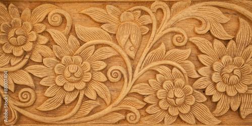 Valokuvatapetti flower carved on wood