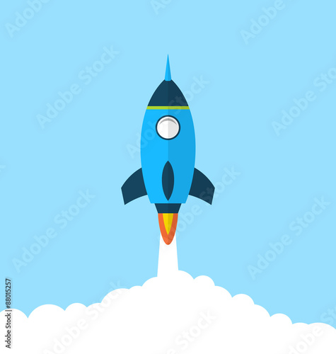 Fotografie, Obraz  Flat icon of rocket with long shadow style, startup concept