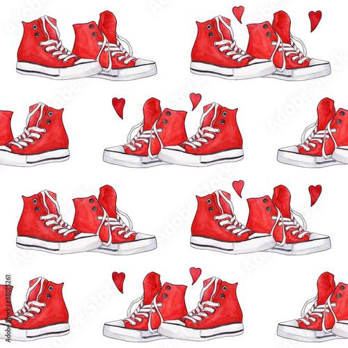 akwarela-czerwone-trampki-pary-serc-bezszwowe-tlo-wzor
