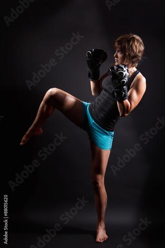 Fit woman doing kickbox Wallpaper Mural