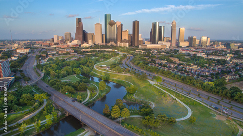 Autocollant pour porte Texas Houston Skyline during late afternoon looking east