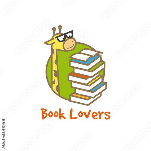 Vector funny giraffe logotype. Book store logo. Wallpaper Mural