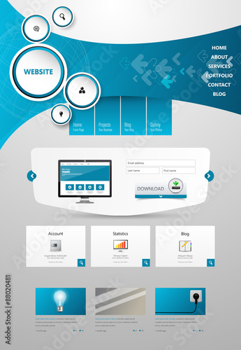 Photo  Commerical Website Template Design, One Page Design, Vector