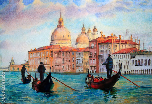 Fotografie, Obraz  Painting of Venice Italy, painted by watercolor