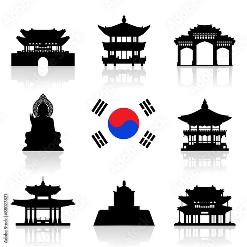Fotografía  Korea Travel Icon Set.