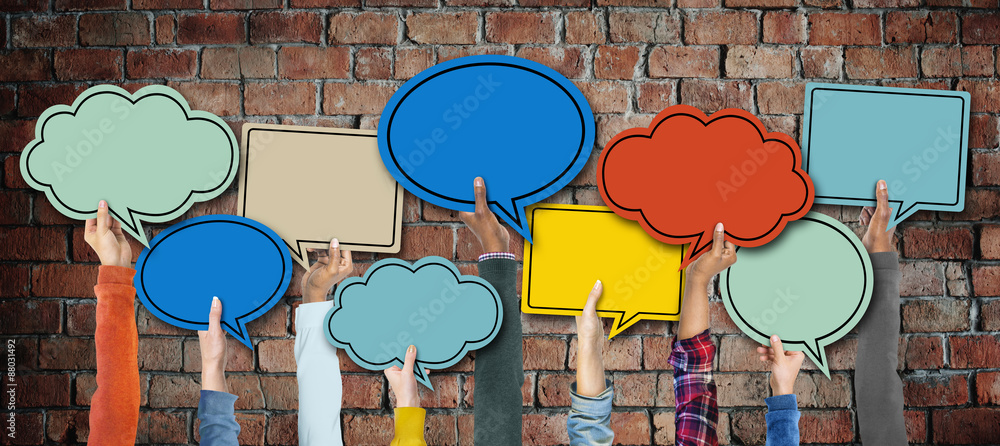 Fototapety, obrazy: Group of Hands Holding Speech Bubbles