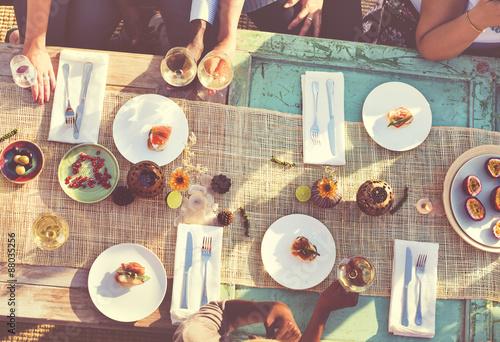 Foto op Canvas Kruidenierswinkel Food Table Healthy Delicious Organic Meal Concept