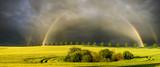 Fototapeta Tęcza - Polna droga wiodąca wśród pól uprawnych