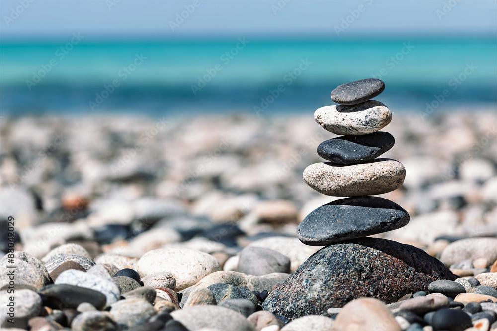 photo sur plexiglas zen balanced stones stack nikkel. Black Bedroom Furniture Sets. Home Design Ideas