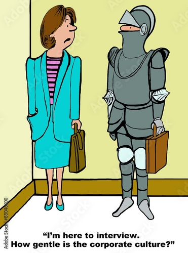Fotografie, Obraz  Business cartoon of businesswoman talking to man wearing a suit of armor