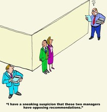 Business Cartoon Of Two Angry Businessmen Facing Off, Manager Says, 'I Have A Sneaking Suspicion These Two Managers Have Opposing Recommendations'.