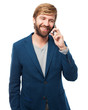 happy businessman with telephone