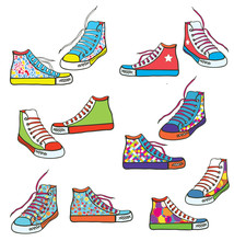 Set Of Sneakers With Pattern F...
