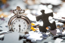 Macro Of Pocket Watch And Blac...
