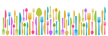 Fork Knife Spoon Abstract Colorful Horizontal