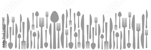 Fotografie, Obraz  Fork Knife Spoon Abstract Gray Horizontal